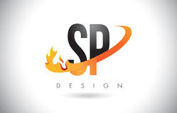 SP S P Letter Logo with Fire Flames Design and Orange Swoosh. SP S P Letter Logo Design with Fire Flames and Orange Swoosh Vector Illustration Royalty Free Stock Photo