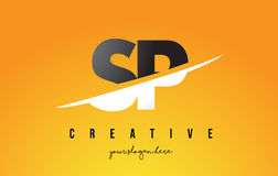 SP S P Letter Modern Logo Design with Yellow Background and Swoo. SP S P Letter Modern Logo Design with Swoosh Cutting the Middle Letters and Yellow Background Royalty Free Stock Photos