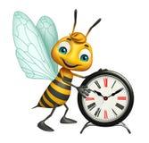 Spaß Bienenzeichentrickfilm-figur mit Uhr Lizenzfreies Stockfoto