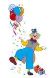 Spaß-Clown mit Ballonen und Geschenken Lizenzfreie Stockfotografie