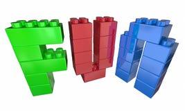 Spaß, der Toy Blocks Letters Word spielt Stockbild