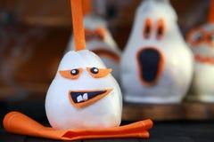 Spaß-essbare Halloween-Birnennachtische oder -festlichkeiten Stockfotos