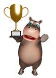 Spaß-Flusspferdzeichentrickfilm-figur mit gewinnendem Cup stock abbildung
