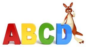Spaß-Känguruzeichentrickfilm-figur mit abcd Zeichen Lizenzfreies Stockbild