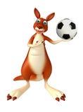 Spaß-Känguruzeichentrickfilm-figur mit Fußball Stockbild