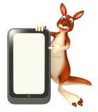 Spaß-Känguruzeichentrickfilm-figur mit Mobile Stockfotografie