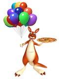 Spaß-Känguruzeichentrickfilm-figur mit Pizza und baloon Lizenzfreie Stockbilder