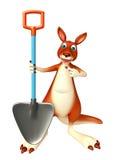 Spaß-Känguruzeichentrickfilm-figur mit Schaufel Stockfoto