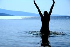 Spaß in Meer haben Stockfoto