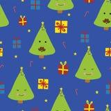 Spaß-nette Weihnachtsbäume mit Gesichtern mit dem Schnurrbart lizenzfreie abbildung