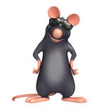 Spaß Rattenzeichentrickfilm-figur mit sunglass lizenzfreie abbildung