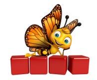 Spaß Schmetterlingszeichentrickfilm-figur mit Niveau stock abbildung