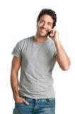 Spaß am Telefon Stockbild