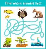 Spaß und buntes Rätselspiel für die Entwicklung der Kinder finden wo Rotwild, ein gestreiftes Streifenhörnchen und ein Fisch Trai Stockfotos