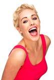 Spaß und freie Frau, die lachen und lächeln Lizenzfreies Stockbild