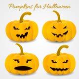 Spaß und furchtsame Kürbise eingestellt für Halloween Stockbild