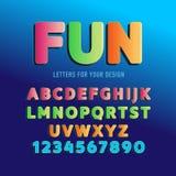 Spaß-Vektoralphabet, Guss, lokalisierte Illustration Karikaturalphabetbuchstaben und -zahlen vektor abbildung