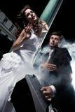 Spaßfoto der Hochzeit Stockfotos