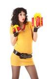 Spaßfrau mit Geschenk Lizenzfreie Stockbilder