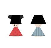 Spaßkarikaturikone der chinesischen kleinen Leute auf Weiß Lizenzfreie Stockfotografie