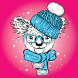 Spaßkoala im Hut und im Schal Vector Illustration für Postkarte oder Plakat, Druck auf Kleidung Neues Jahr und Weihnachten, Winte vektor abbildung