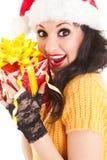 Spaßsankt-Frau mit Geschenk Stockbilder