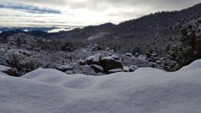 Spaßschneetag im Wintermärchenland stockfoto
