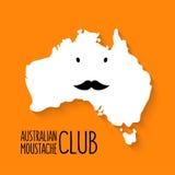 Spaßschnurrbartclubkarikatur Australien-Kartenvektor an Stockbilder