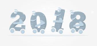 Spaßzahlen auf Rädern für die Illustrationen der Kinder Stockfoto