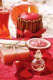 SPA καθορισμένη: scented κερί, αλατισμένο, υγρό σαπούνι θάλασσας Στοκ Εικόνα