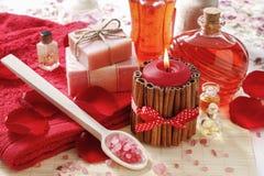 SPA καθορισμένη: scented κερί, αλατισμένο, υγρό σαπούνι θάλασσας Στοκ εικόνα με δικαίωμα ελεύθερης χρήσης