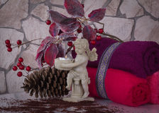 SPA και χρόνος Χριστουγέννων, σύνθεση με τον άγγελο Στοκ εικόνες με δικαίωμα ελεύθερης χρήσης