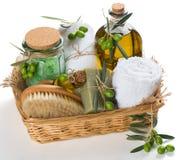 SPA και aromatherapy σύνολο ελιάς Στοκ Φωτογραφία