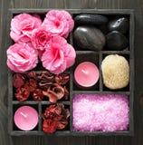 SPA και aromatherapy σύνολο στο μαύρο κουτί Στοκ Εικόνες
