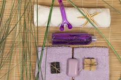 SPA και Wellness που θέτουν με το φυσικό σαπούνι, μπαμπού πετσετών πετρών Στοκ Φωτογραφίες