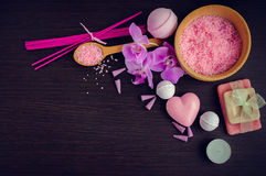 SPA και wellness που θέτουν με το φυσικό σαπούνι Στοκ Εικόνες