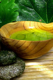 Spa 01. Wooden bowl with fluid for the turkish bath Stock Image