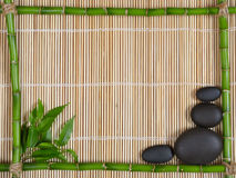 Spa. Bamboo frame ,leaves and stones Stock Images