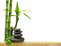 Spa. Bamboo stem ,leaves and stones Stock Images