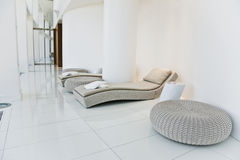 Spa. Salon with white walls and floor Stock Photos