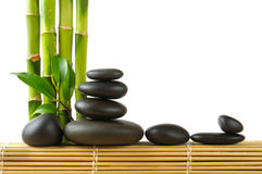 Spa. Bamboo stem ,leaves and stones Stock Image