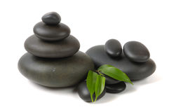 Spa. Green leaves ,flower and zen  stones Royalty Free Stock Image