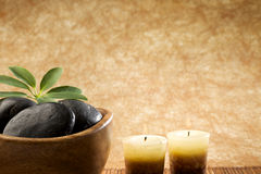 At the Spa. Massage stones and candles, copy space Royalty Free Stock Photography
