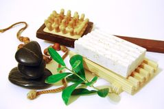 Spa. Bath accesories on a white background Stock Photos