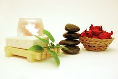 Spa. Bath accesories on a white background Royalty Free Stock Photo