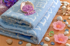 Spa. Spa composition: blue towels, stones, shell and aromatherapy salt Stock Images