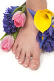 Spa. Pedicured feet, manicured hands and aromatic flowers in a spa Stock Photo