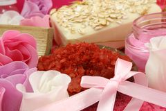 SPA. The pink soap, sea salt and cream on the towel Royalty Free Stock Photo