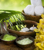 Spa. Beautiful spa setting. Sea salt scented. Close-up image Stock Photos