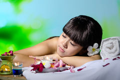 Spa. Portrait of young beautiful woman in spa environment Royalty Free Stock Photography
